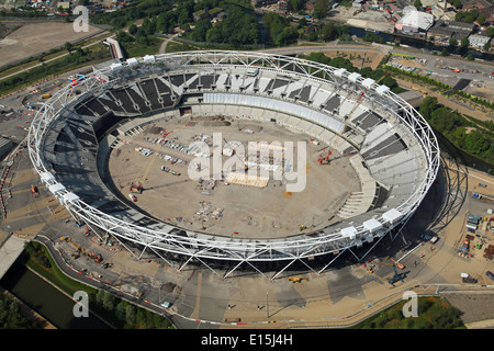Aerial view of the main stadium at the Queen Elizabeth Olympic Park in Stratford, East London - Stock Photo