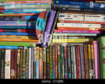 Books at a flea market, Westfield, New Jersey, USA - Stock Photo