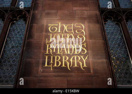 The John Rylands Library sign Manchester UK - Stock Photo
