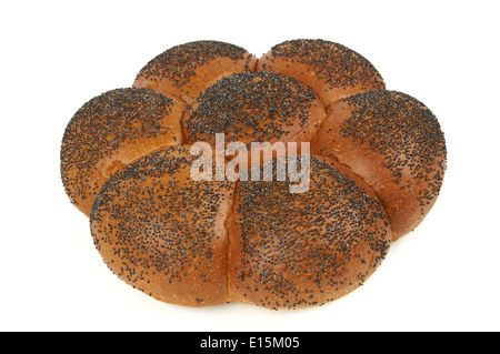 Challah with blue poppy isolated on white - Stock Photo