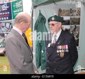 Exeter, Devon, UK, 23rd May, 2014. Devon County Show The Duke of Kent meets Royal Marine veteran Bill Bryant Veteran - Stock Photo