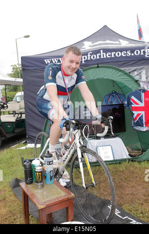 Devon County Show Exeter, Devon, UK. 23rd May, 2014.  Adam Greenford formerly with RAF 10.5yrs service riding 100miles - Stock Photo