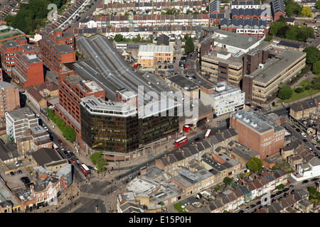 aerial view of Wood Lane Bus Garage in North London, where London buses live - Stock Photo