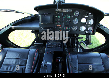 the cockpit controls of an Aerospatiale AS55 Twin Squirrel helicopter aircraft - Stock Photo