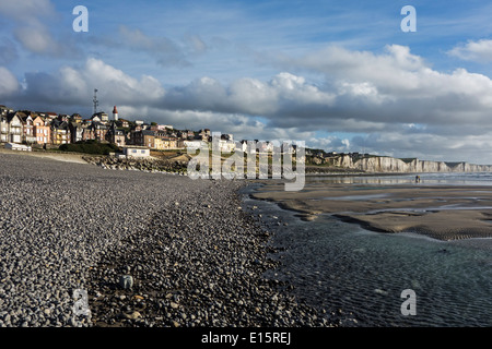 View over the chalk cliffs and the village Ault seen from the pebble beach, Somme, Picardy, France - Stock Photo