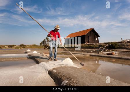 Salt-marsh worker collecting salt - Stock Photo