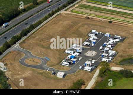 Permanent gypsy / traveller site - Stock Photo