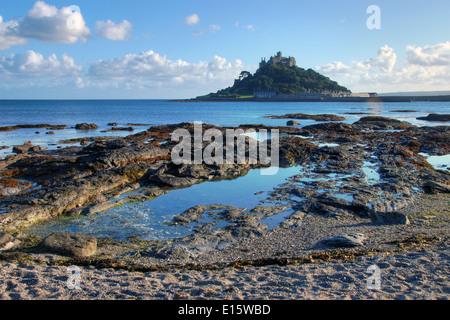 St Michael's Mount, off the Cornish coast - Stock Photo