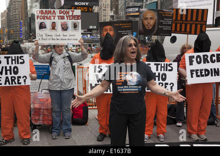 New York, NY, USA. 23rd May, 2014. New Yorkers demonstrate on the first anniversary of President Obama's second - Stock Photo