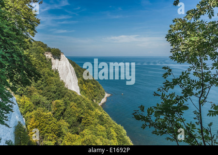 118 meter high chalk cliffs Königsstuhl, Jasmund National Park, Ruegen Island, Mecklenburg-Western Pomerania, Germany, - Stock Photo
