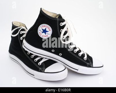 Converse All Star Black and White Chuck Taylor - Chuck Taylor All-Stars canvas and rubber shoes - basketball sneakers - Stock Photo