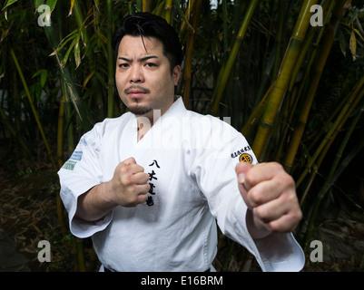Ippei Yagi of Meibukan Karate at Fukushu En, Naha, Okinawa, Japan - Stock Photo