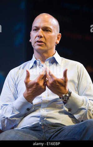 Tony Fadell, creator of the iPod, speaking on stage at Hay Festival 2014   ©Jeff Morgan - Stock Photo
