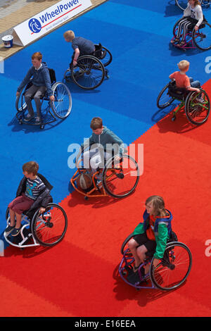 Wheelchair basketball sports display on the first day of the first ever Bournemouth Wheels Festival in May Credit: - Stock Photo