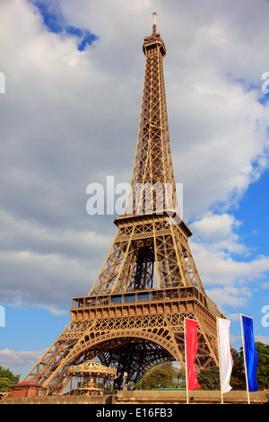 view from the river Seine on Eiffel tower (La Tour Eiffel) in Paris, France - Stock Photo