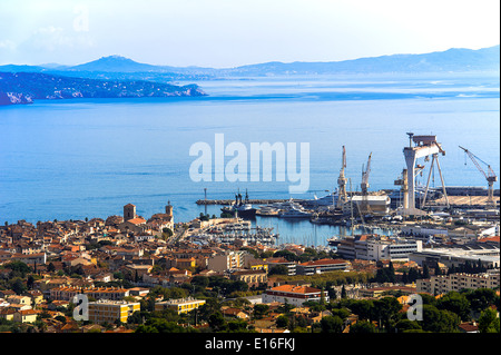 Europe, France, Bouches-du-Rhone, La Ciotat. The city and the shipyard. - Stock Photo