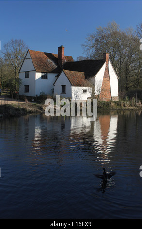 Willy Lott's Cottage, Flatford, East Bergholt, Suffolk, made famous in John Constable's painting, The Hay Wain, - Stock Photo
