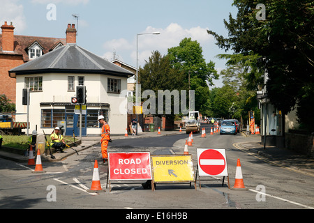 Road Works Road Closed Diversion No Entry signs Worcester Worcestershire England UK - Stock Photo