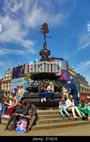 The Statue of Eros in Piccadilly Circus, London, England - Stock Photo