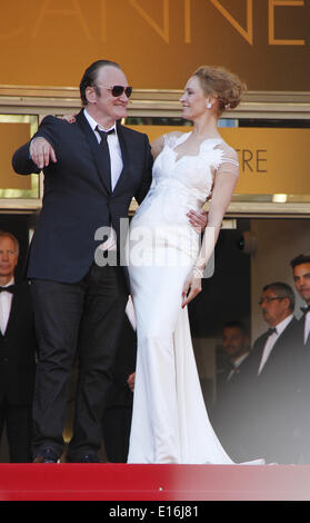 Cannes, France. 24th May, 2014. U.S. actress Uma Thurman (R) and US director Quentin Tarantino arrive for the screening - Stock Photo