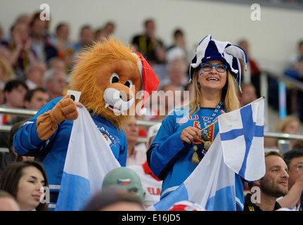 Fans Finland celebrates during 2014 IIHF World Ice Hockey Championship semifinal match at Minsk Arena - Stock Photo