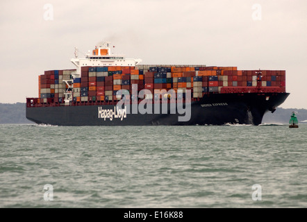 SOUTHAMPTON,ENGLAND. - Imports arrive - Containers stacked on the deck of the Hapag Lloyd freighter Bremen Express. - Stock Photo