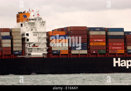 SOUTHAMPTON,ENGLAND. - Imports arrive - Containers stacked on the deck of a Hapag Lloyd freighter. Photo: Jonathan - Stock Photo