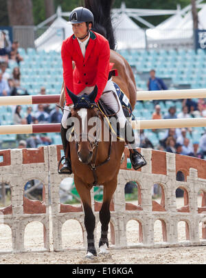 Nicola Philipaerts of Belgium riding Forever d'Arco ter Linden. in the Furusiyya FEI Nations Cup show jumping event - Stock Photo