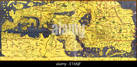 Tabula Rogeriana old map of the world, 1154 AD (upside-down with north oriented up) - Stock Photo
