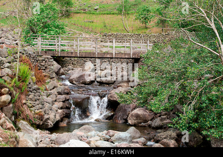 Footbridge Over Stickle Ghyll Beck, Great Langdale, Lake District National Park, Cumbria, England, UK - Stock Photo