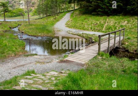 Footbridge Over Bleamoss Beck, Little Langdale, Lake District, Cumbria, England, UK - Stock Photo