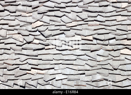Background of old roof made of small stone. - Stock Photo
