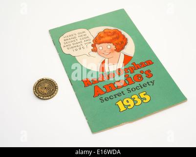 Radio Orphan Annie's Secret Society Radio Show book and decoder - Stock Photo
