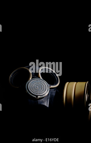 Russian army gas mask isolated on black background - Stock Photo