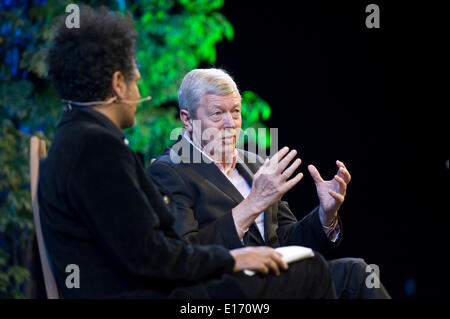 Alan Johnson Labour Party Politician speaking about his early life & politics at Hay Festival 2014 Hay on Wye Powys - Stock Photo
