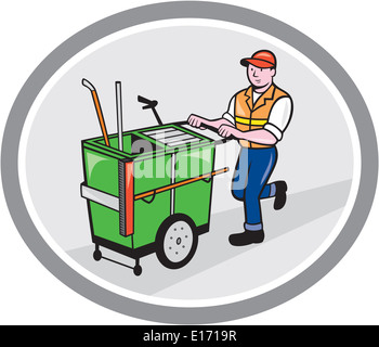 Illustration of a street cleaner worker pushing a cleaning trolley viewed from front set inside an oval circle on - Stock Photo