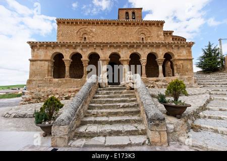 San Esteban de Gormaz romanesque san miguel Soria Spain pueblo town village stone street castille and leon small - Stock Photo