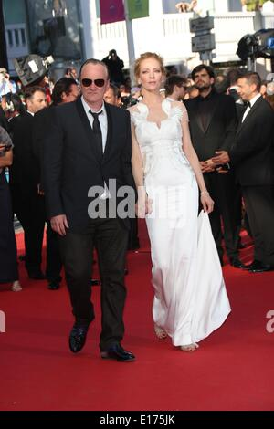 Director Quentin Tarantino and Uma Thurman attend the Closing Ceremony of the 67th Cannes International Film Festival - Stock Photo