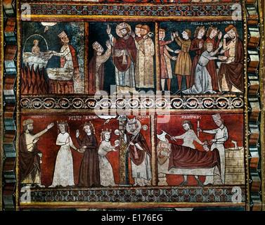 Life of Saint Nicholas 13th cent Master of Bierge church of Saint Fructuosus Bierge - Huesca Medieval Gothic Art - Stock Photo