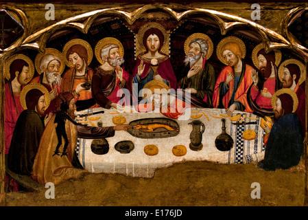 Altarpiece Virgin 1367-1381 (monastery Santa María de Sigena (Villanueva de Sigena Huesca) Jaume Serra Medieval - Stock Photo