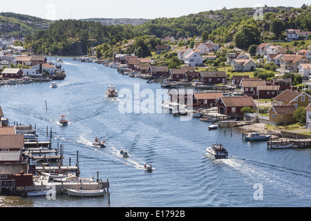 View of of Hamburgersund a old fishing village on the Swedish west coast - Stock Photo