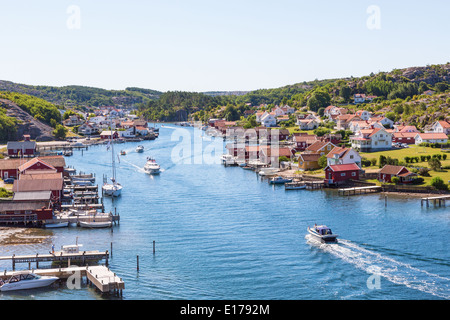 View of of an old fishing village on the Swedish west coast - Stock Photo