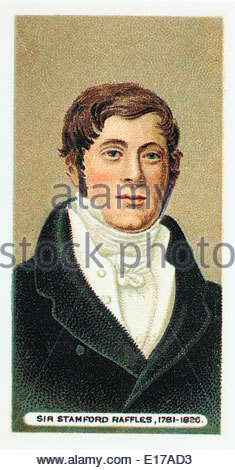 Wills cigarette card Sir Stamford Raffles 1781-1826. EDITORIAL ONLY - Stock Photo