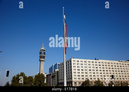 large bicentenary flag in citizens square Santiago Chile - Stock Photo