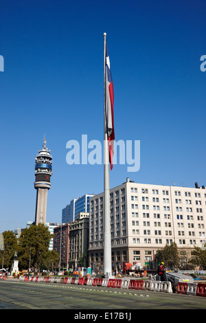 large bicentenary flag on ohiggins avenue in citizens square Santiago Chile - Stock Photo