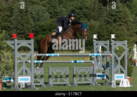 Horse jumping over obstacle, show jumping, Tournament ...