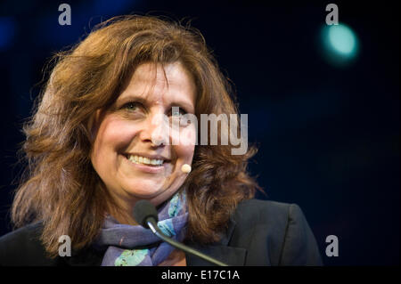 Rebecca Front comedy actress speaking about her life & work on stage at Hay Festival 2014 ©Jeff Morgan - Stock Photo