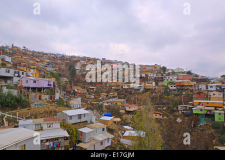 Valparaiso, after the big fire, rebuilding people`s houses  Chile 2014 - Stock Photo