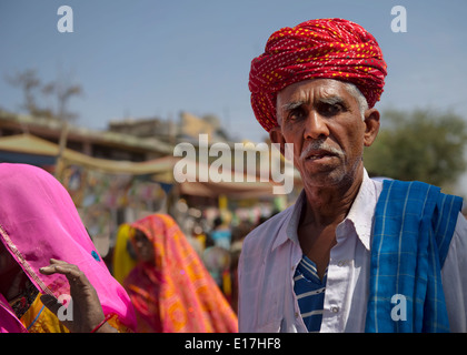 Turbans worn in Rajasthan signify the ancestral profession of the family by the way in which it is tied. Rural Indian - Stock Photo
