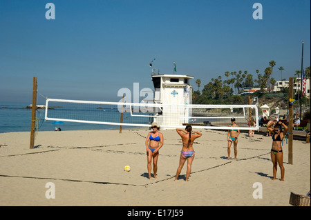 Volleyball courts at Main Beach in Laguna Beach, California - Stock Photo
